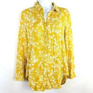 Banana Republic Boyfriend Fit Yellow Floral Shirt